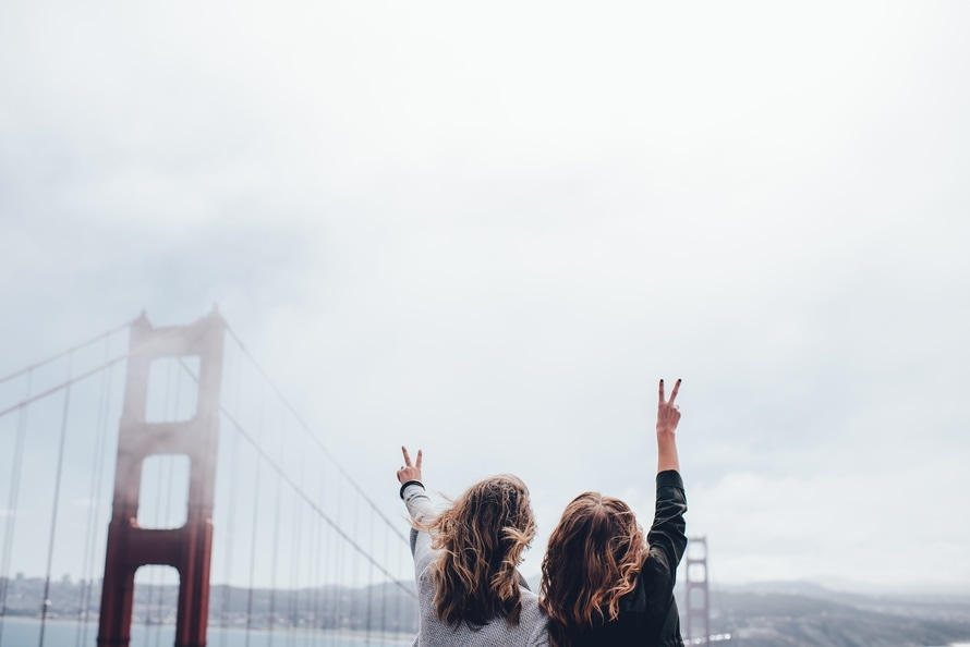 bridge, girls, golden gate bridge