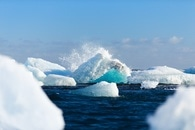 iceberg, water, wave