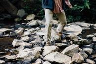 person, legs, rocks