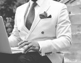 businessman, suit, apple
