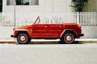 red, car, vintage