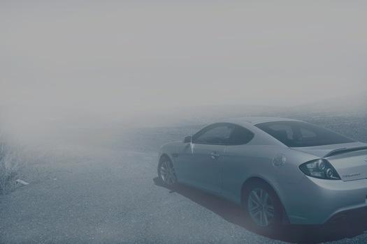 Free stock photo of black-and-white, fog, car, vehicle