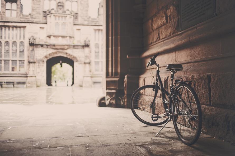 bâtiment, cru, vélo