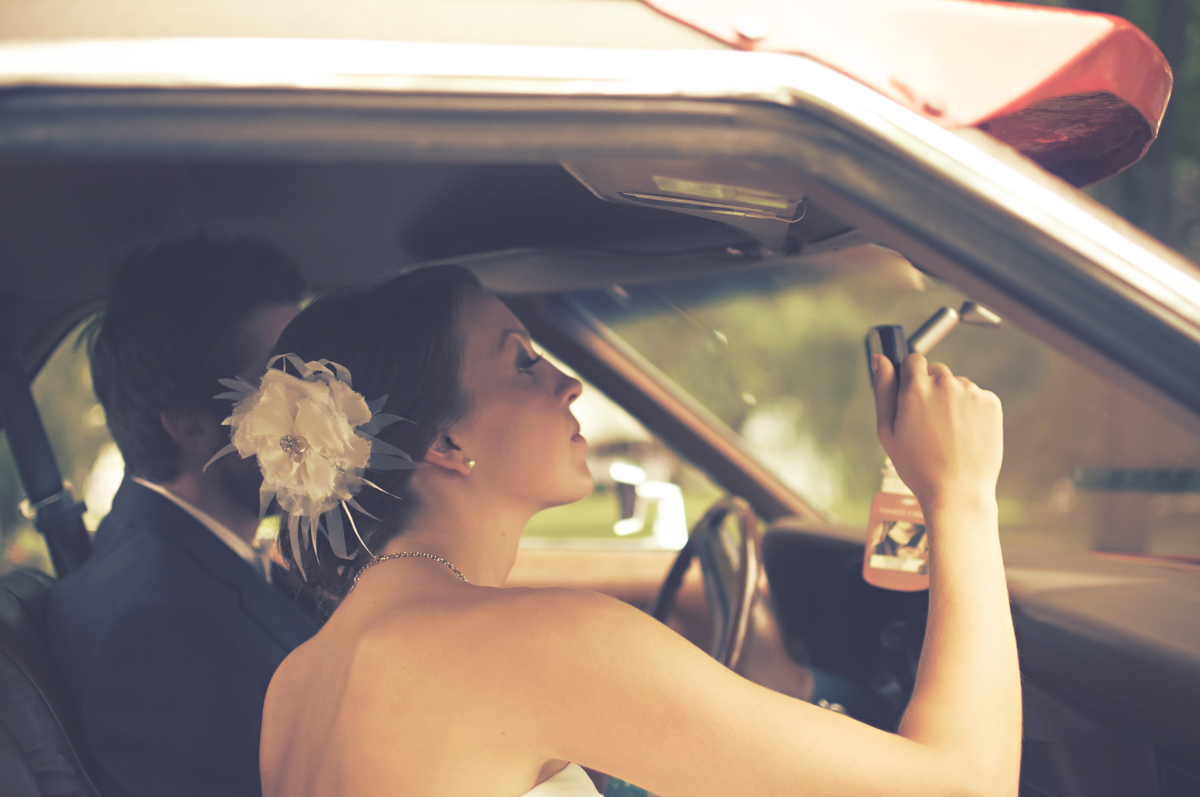 Free stock photo of couple, inside car, rearview mirror