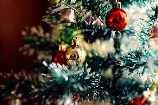 Beige Round Ball Hanging on Green Christmas Tree