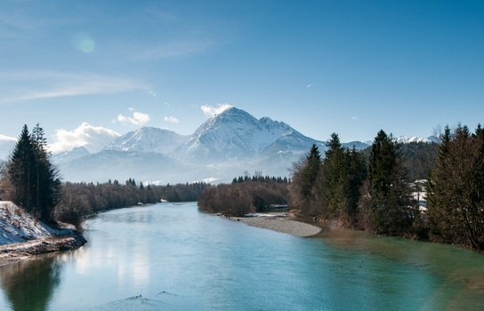 Landscape Photo of Snow Mountain and River
