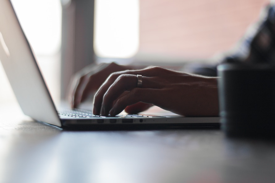 macbook pro, notebook, typing