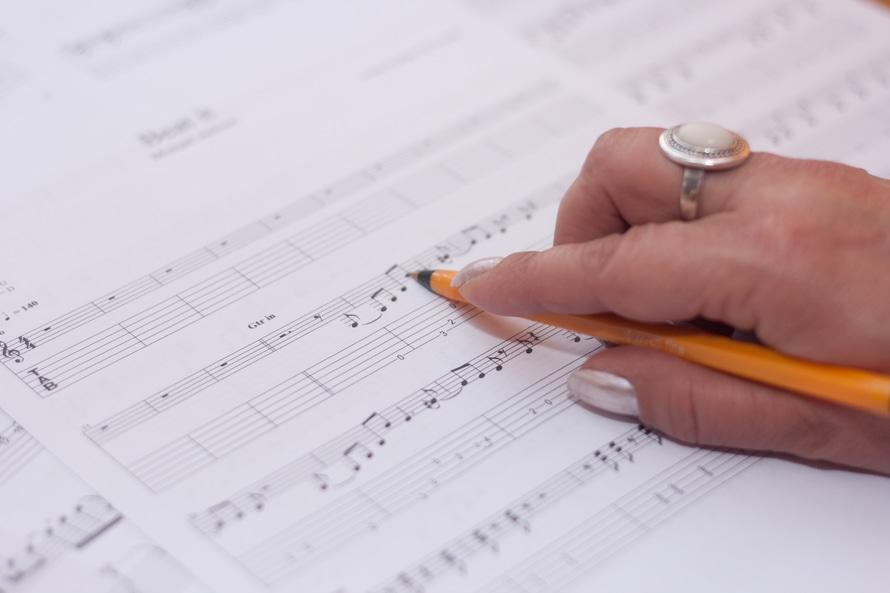 compose, hand, music