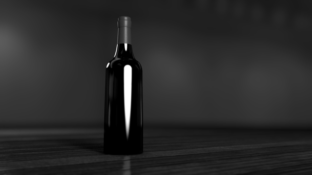 Black and Gray Glass Bottle