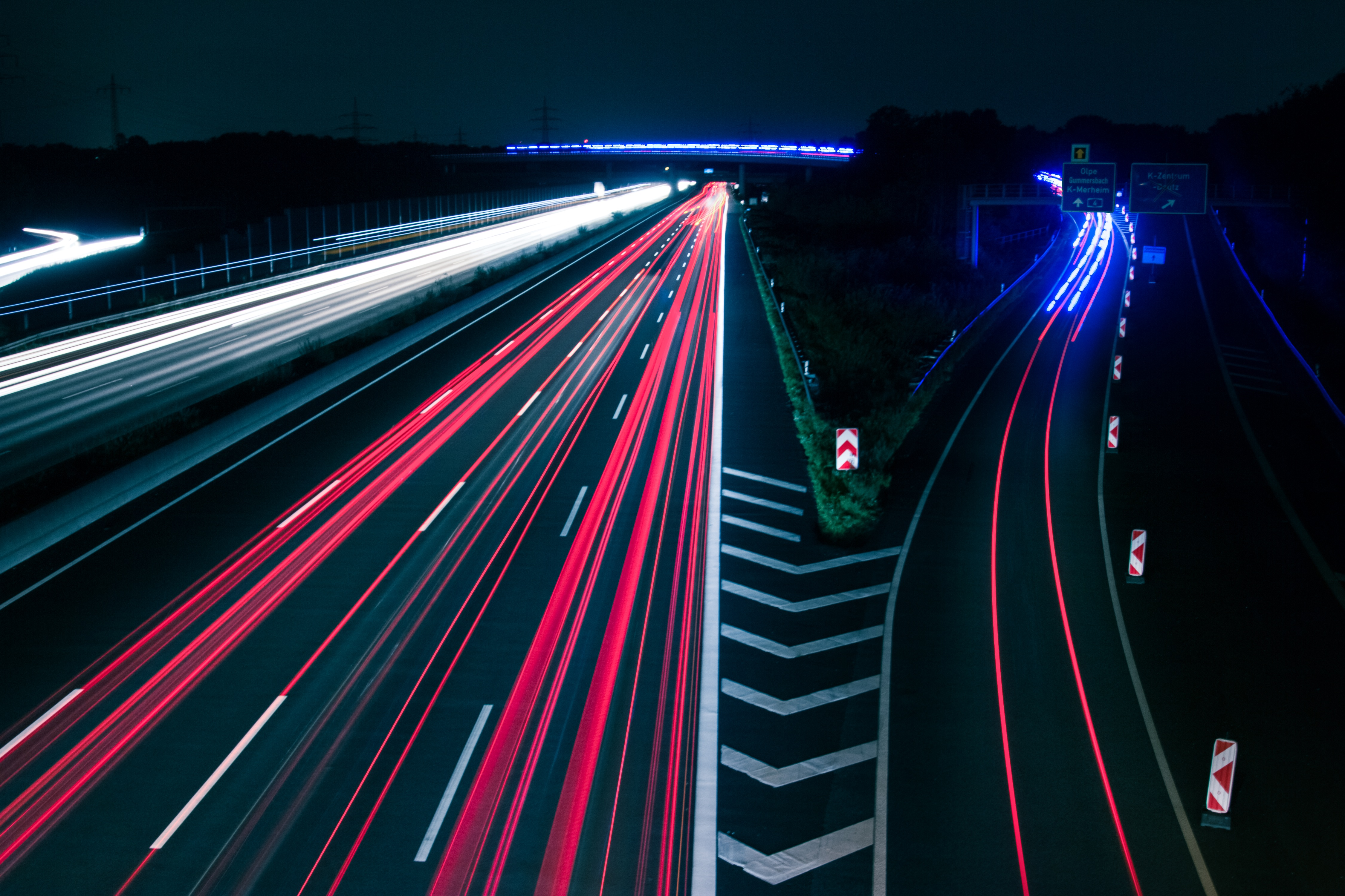 Light Trails on Road at Night · Free Stock Photo for Traffic Light On Road At Night  239wja