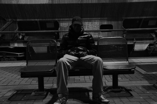 Free stock photo of bench, black-and-white, man, sitting