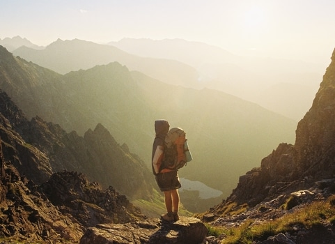 Free stock photo of mountains, summer, sunshine, hiker