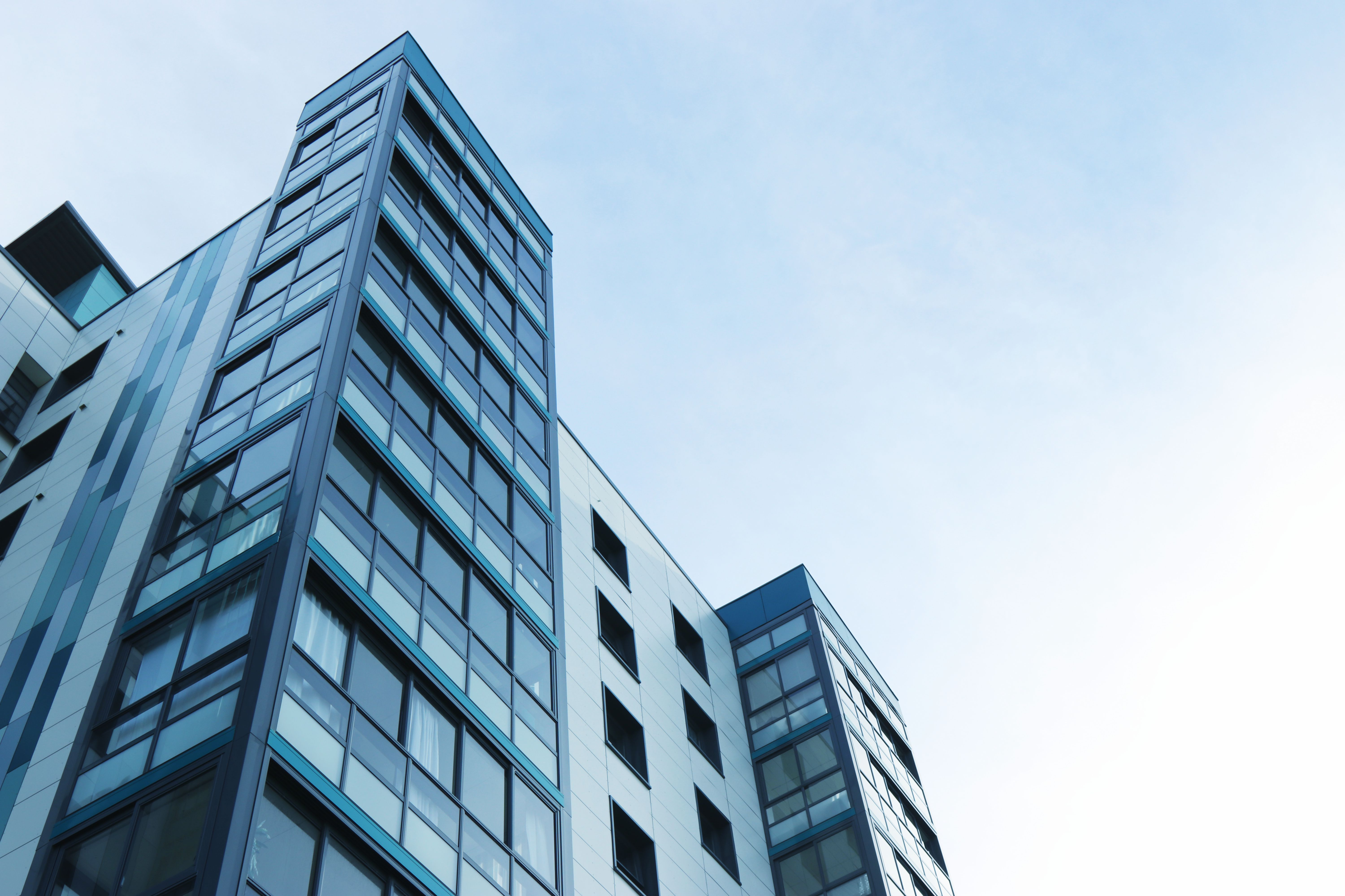 Low Angle View Of Office Building Against Sky  C B Free Stock