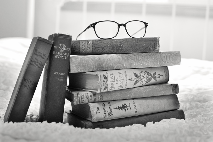 black-and-white, books, vintage