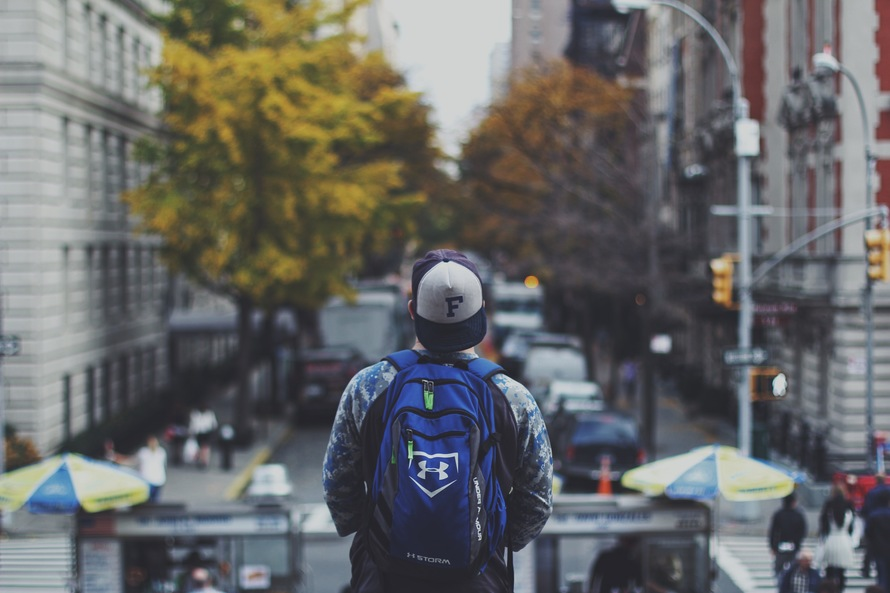 backpack, boy, city
