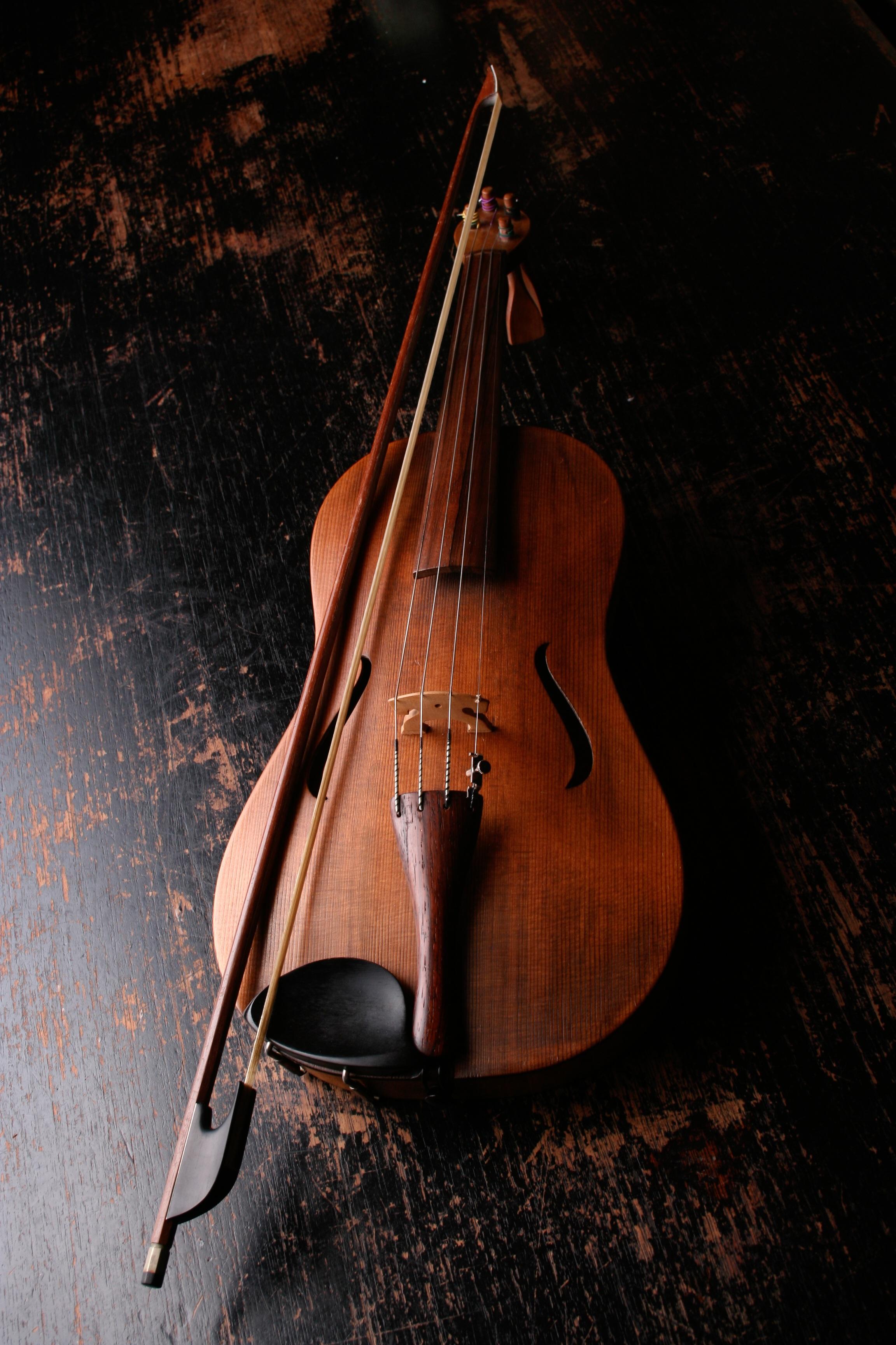 Brown Wooden Violin and Violin Bow \u00b7 Free Stock Photo