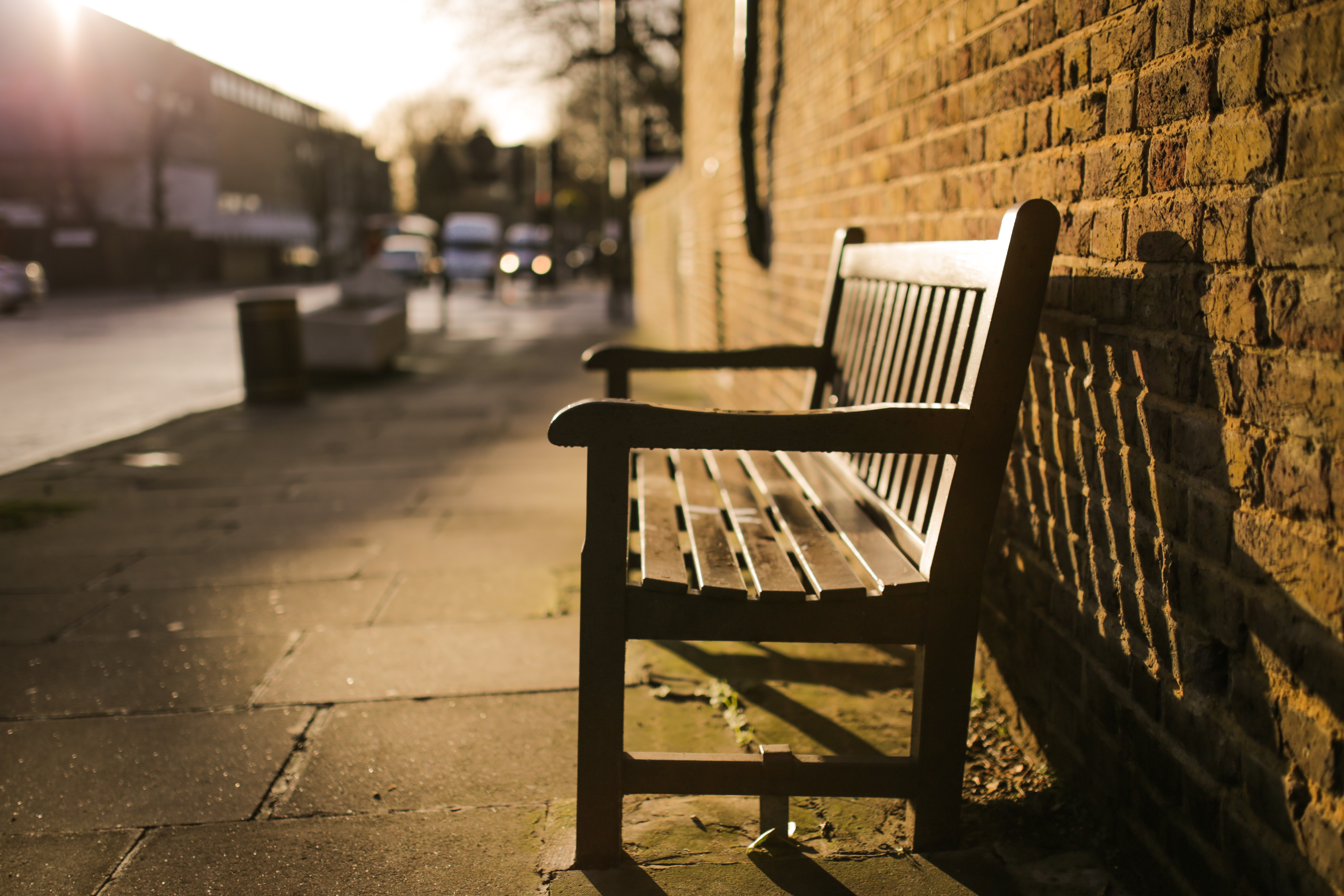 Brown Wooden Bench On The Side Of The Road 183 Free Stock Photo