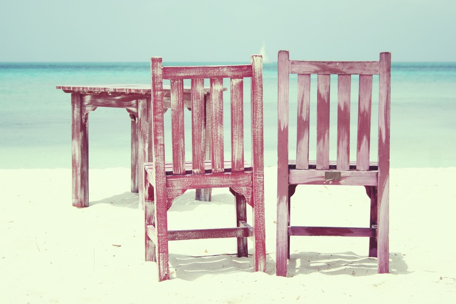beach, chairs, dream