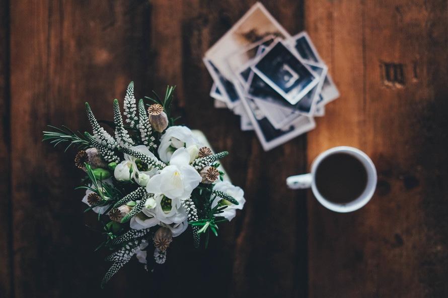madera, café, flores