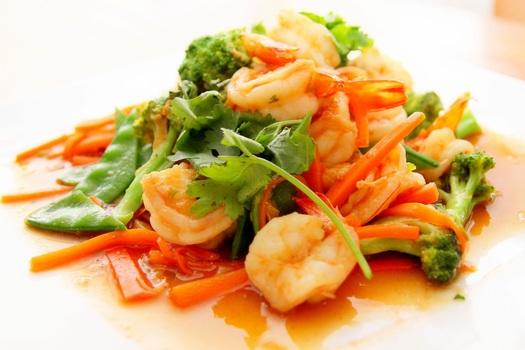 Broccoli Shrimp and Carrots Food on Tray