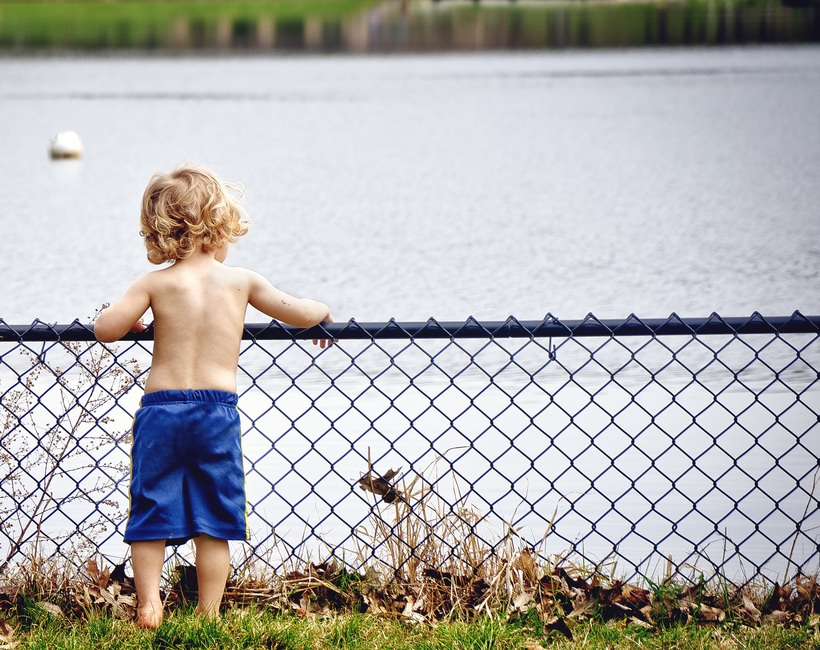 boy, child, fence