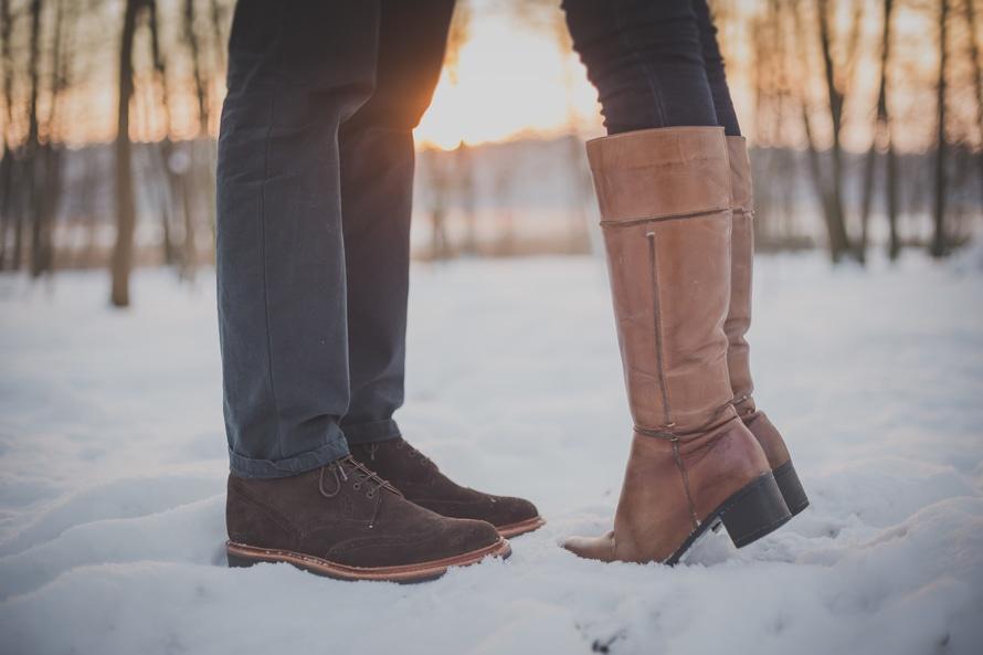 couple, shoes, snow