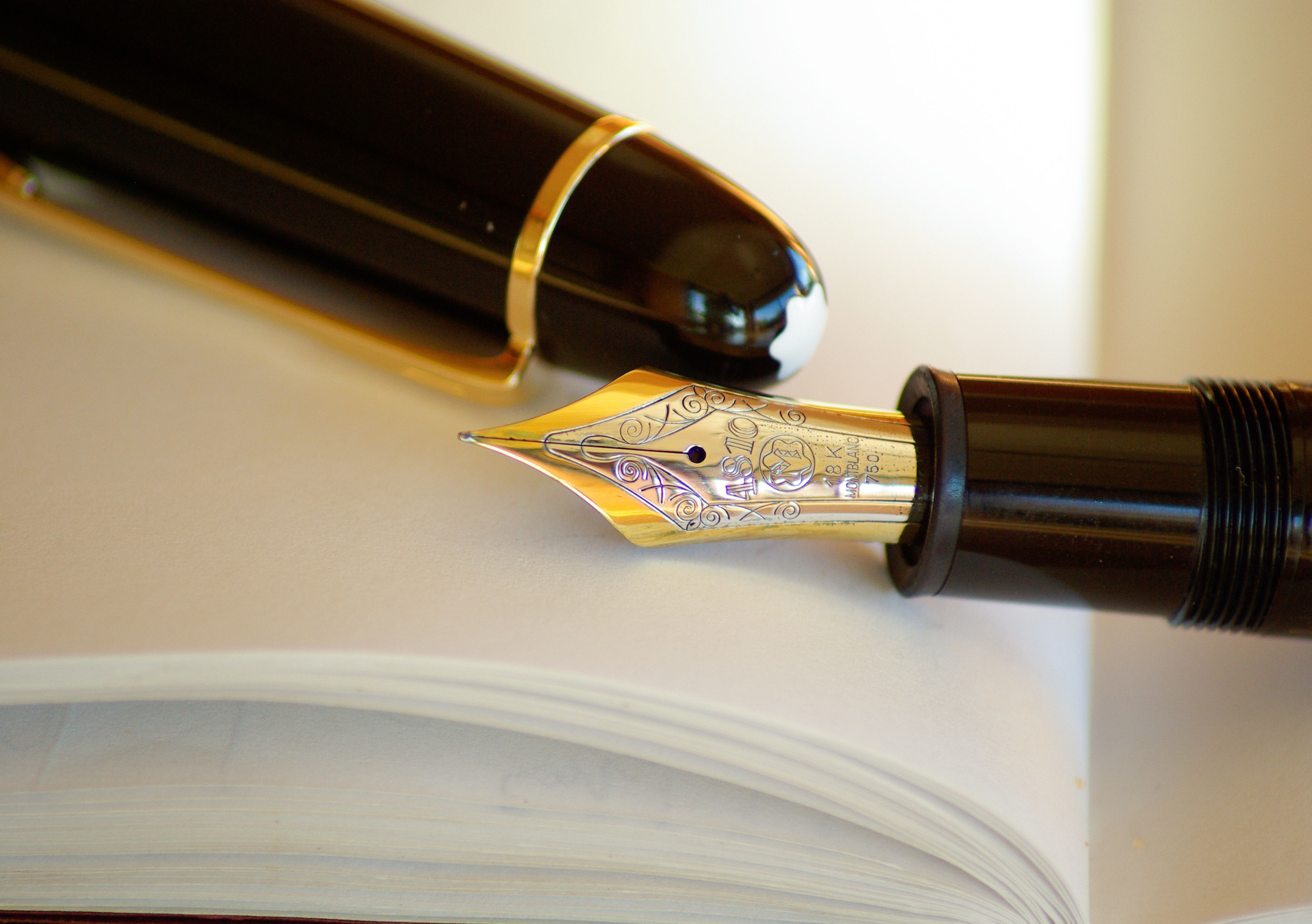 Free Ink Pens Gold And Silver Nib Black Holder Pen A Free Stock Photo