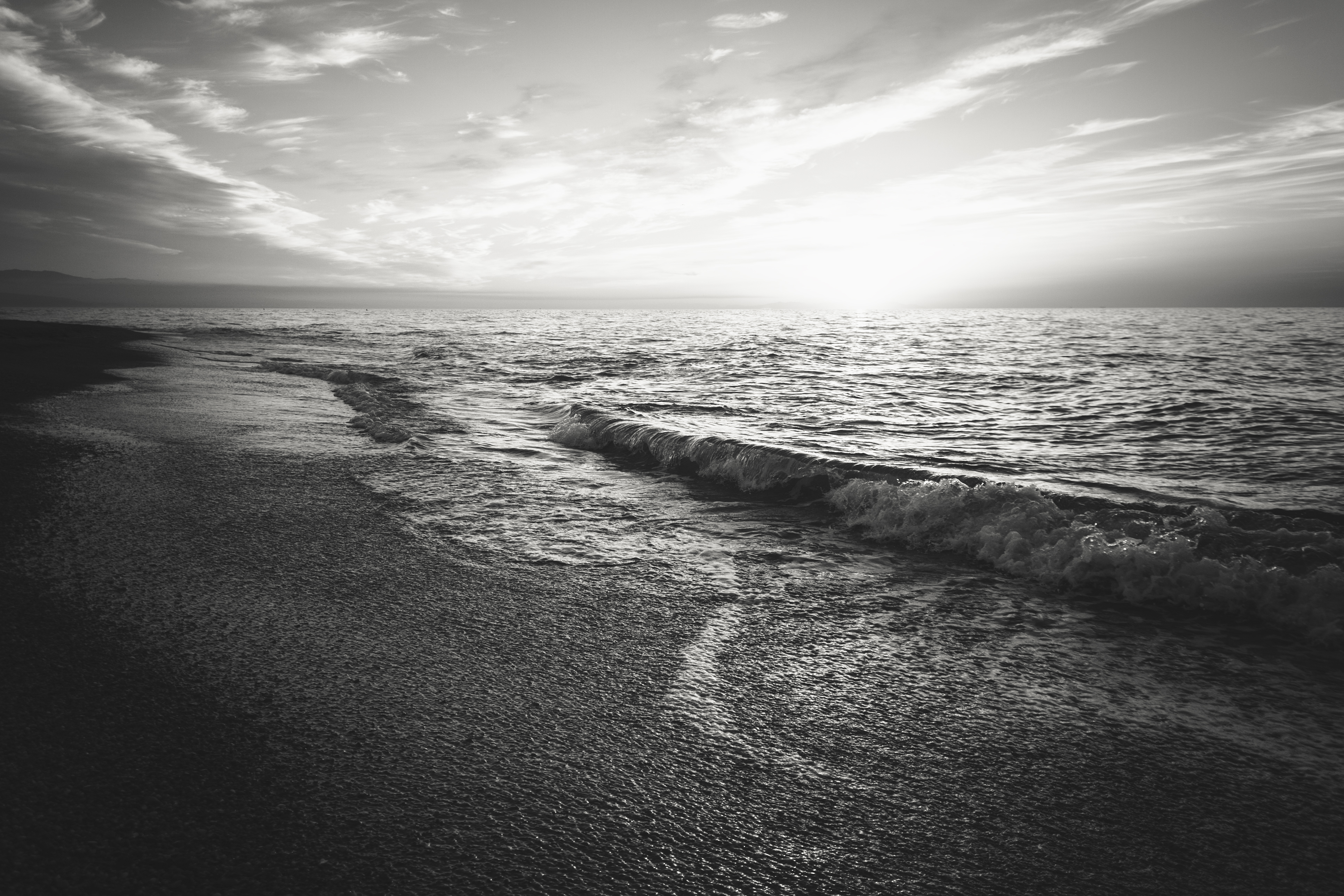 Free stock photo of beach, black-and-white, ocean
