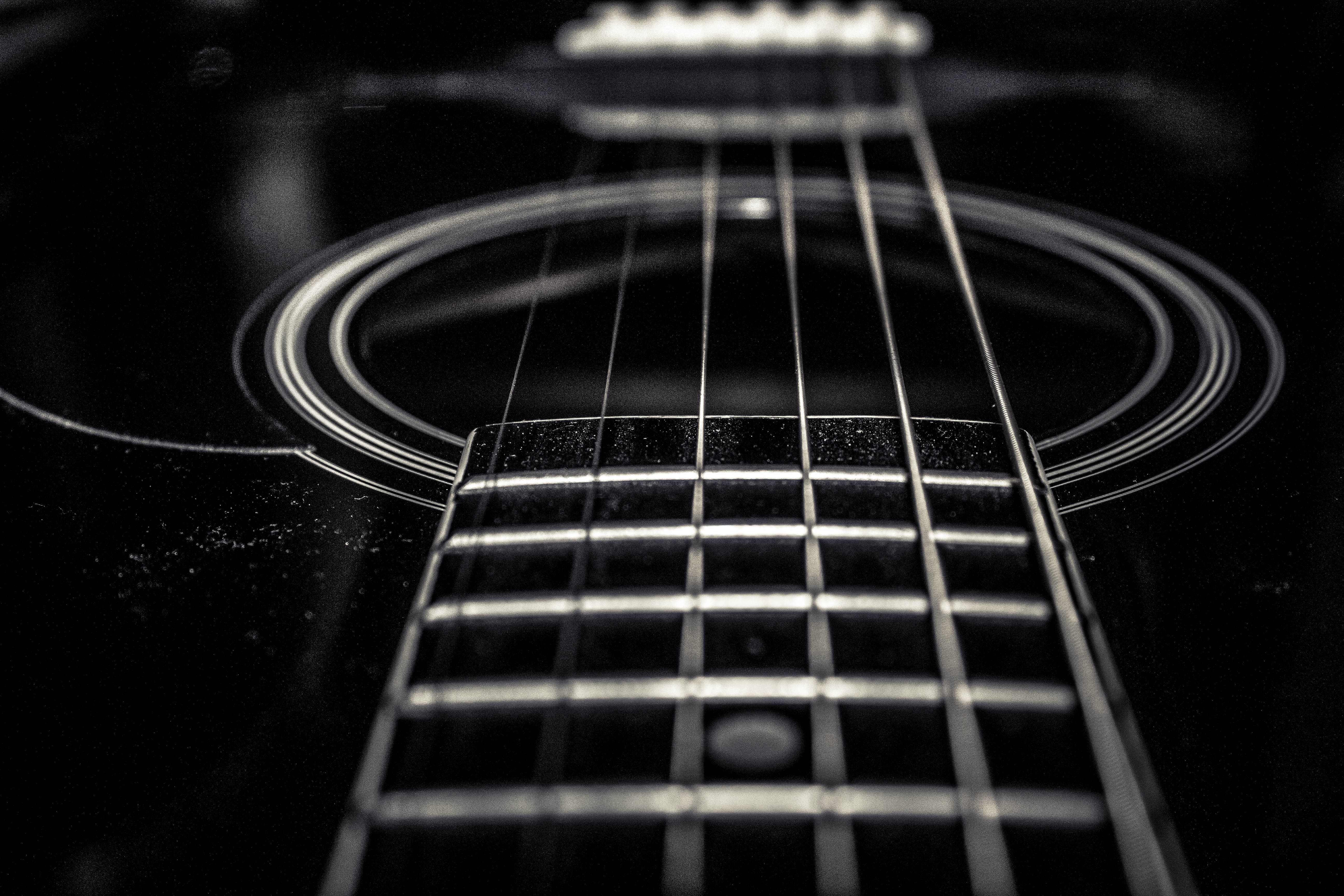 Free Stock Photo Of Acoustic Guitar Black And White Strings