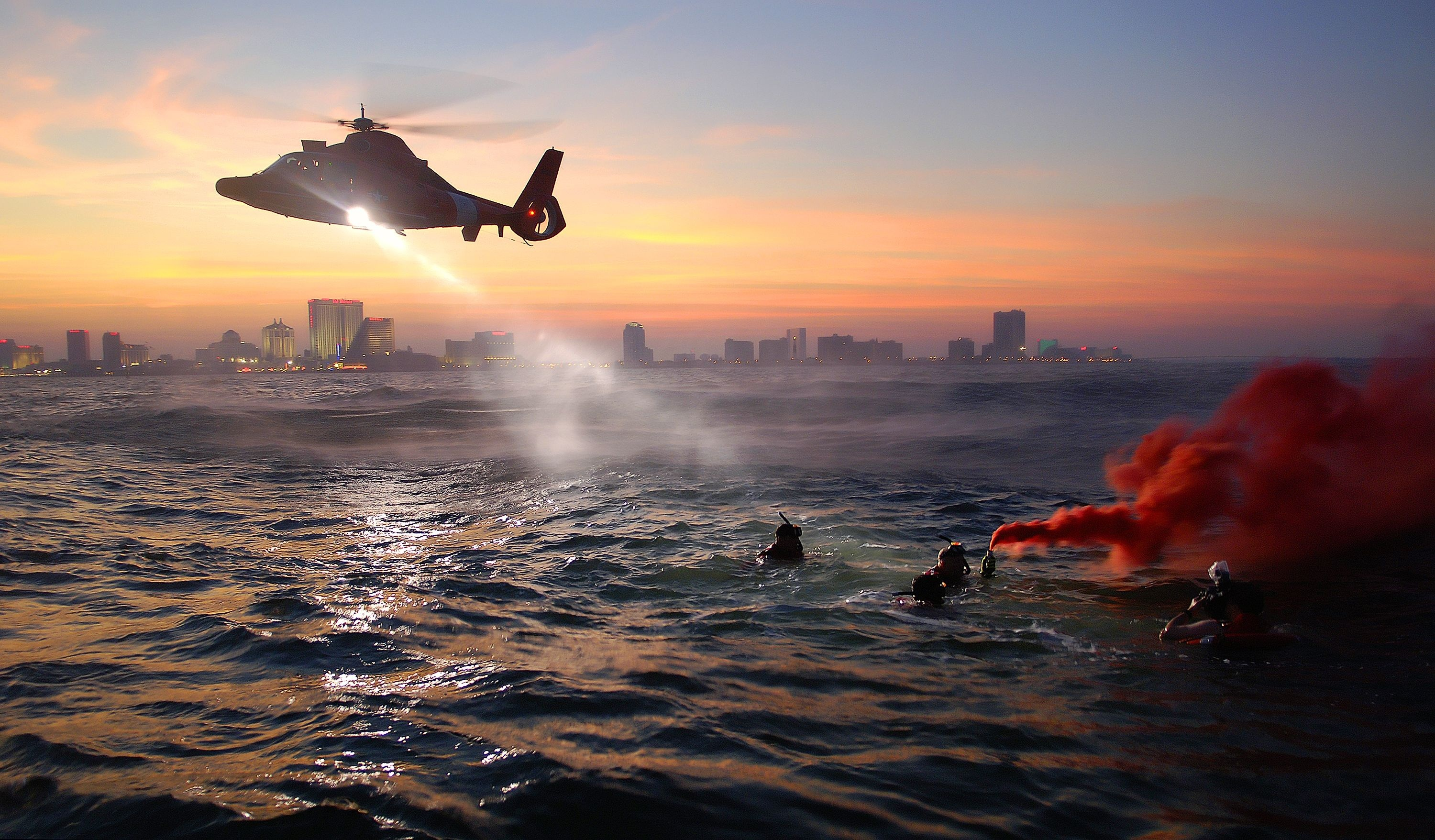 free stock photo of chopper coast guard dusk