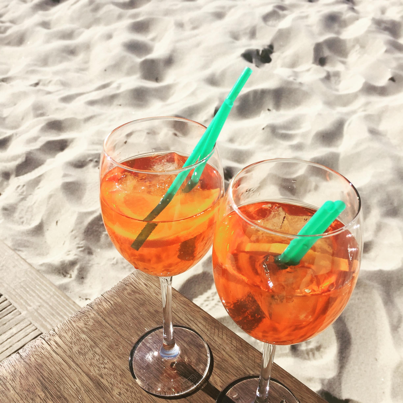 Free Stock Photo Of Aperol Spritz, Beach, Drinks