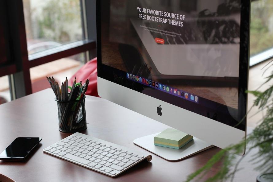 free stock photo of apple computer desk. Black Bedroom Furniture Sets. Home Design Ideas