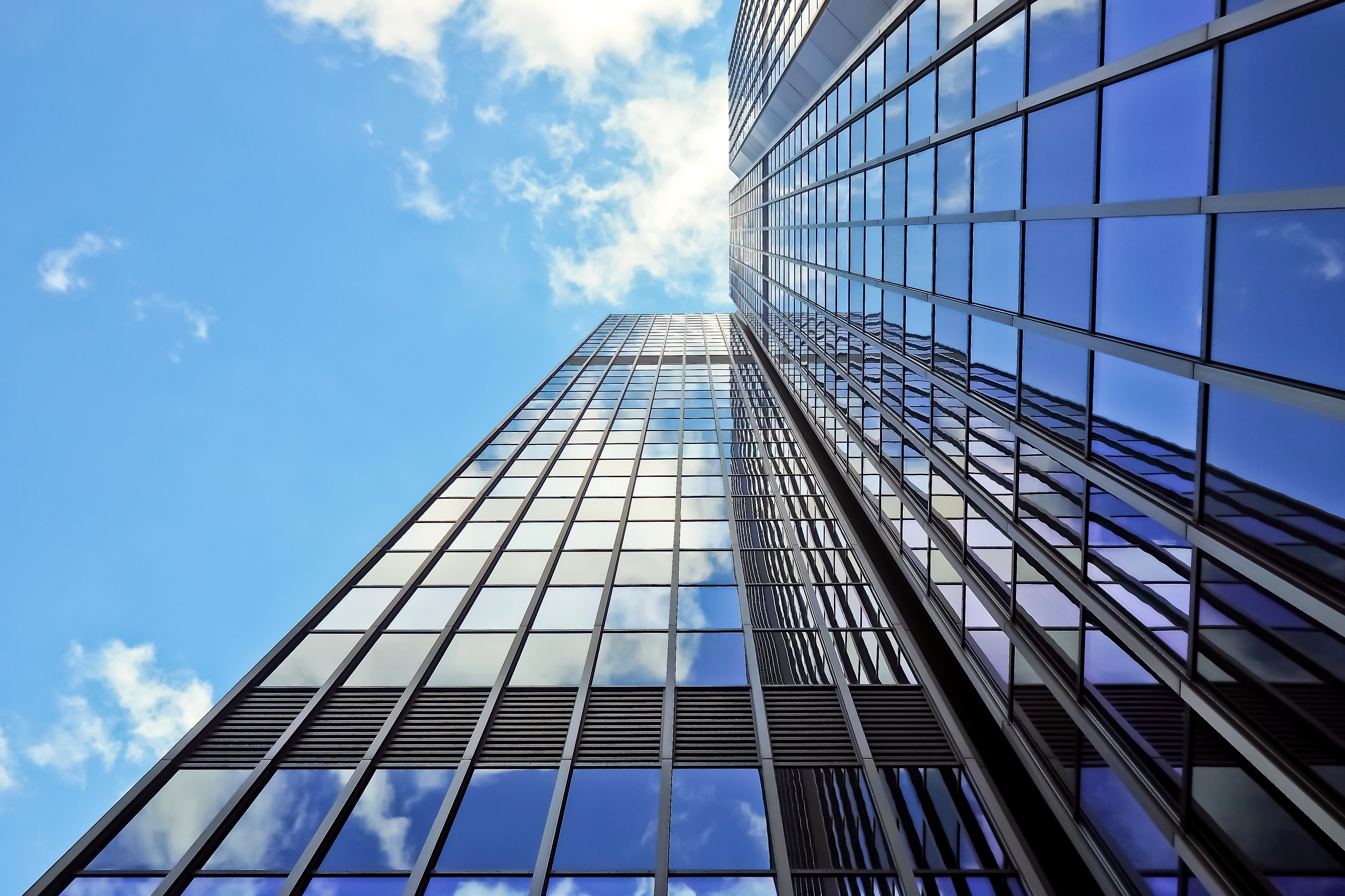 Blue Highrise Glass Skyscraper Intersection Low Angle Shot: Free Stock Photo Of Architecture, Building, Glass
