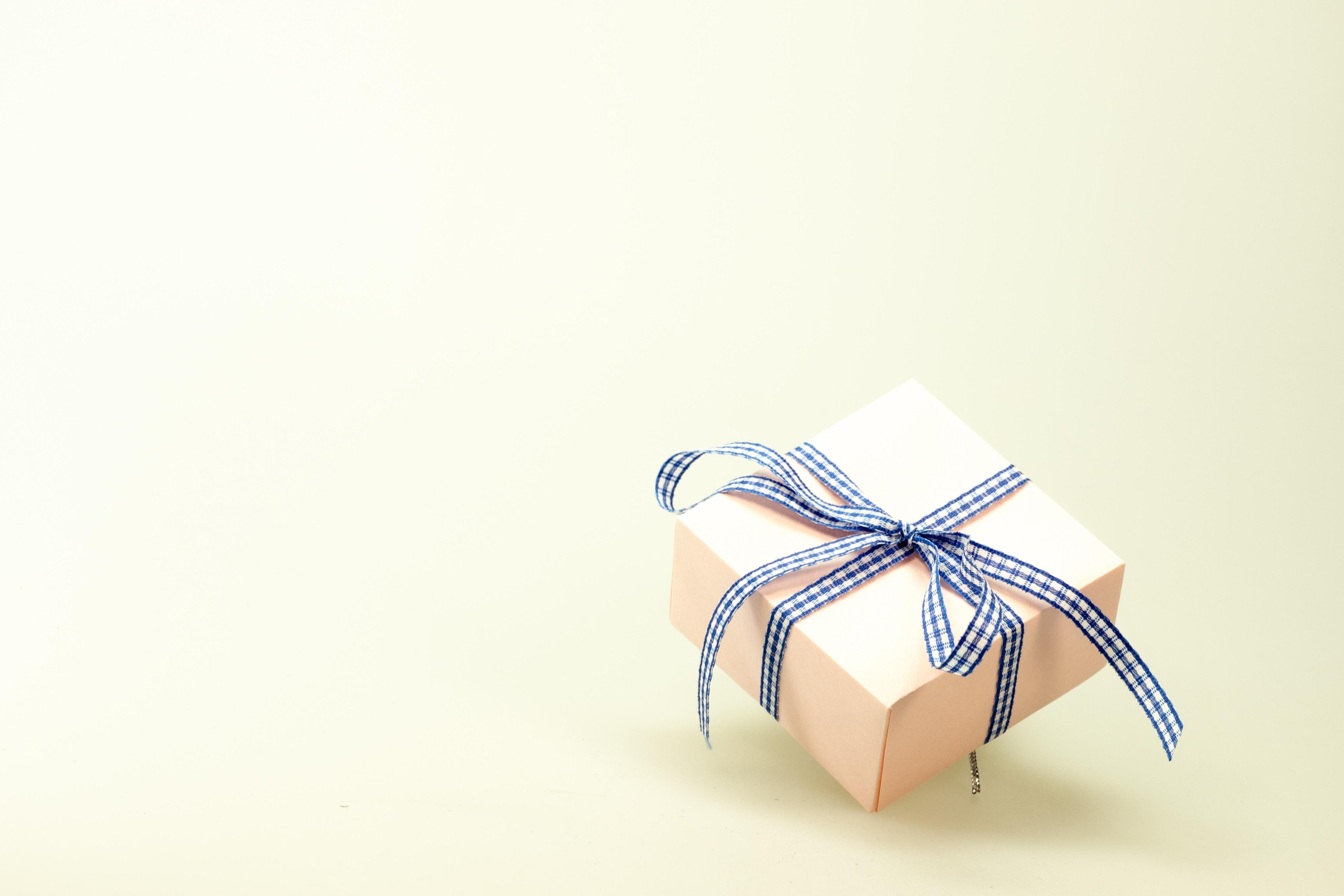 Blue White Ribbon On Pink Box 183 Free Stock Photo