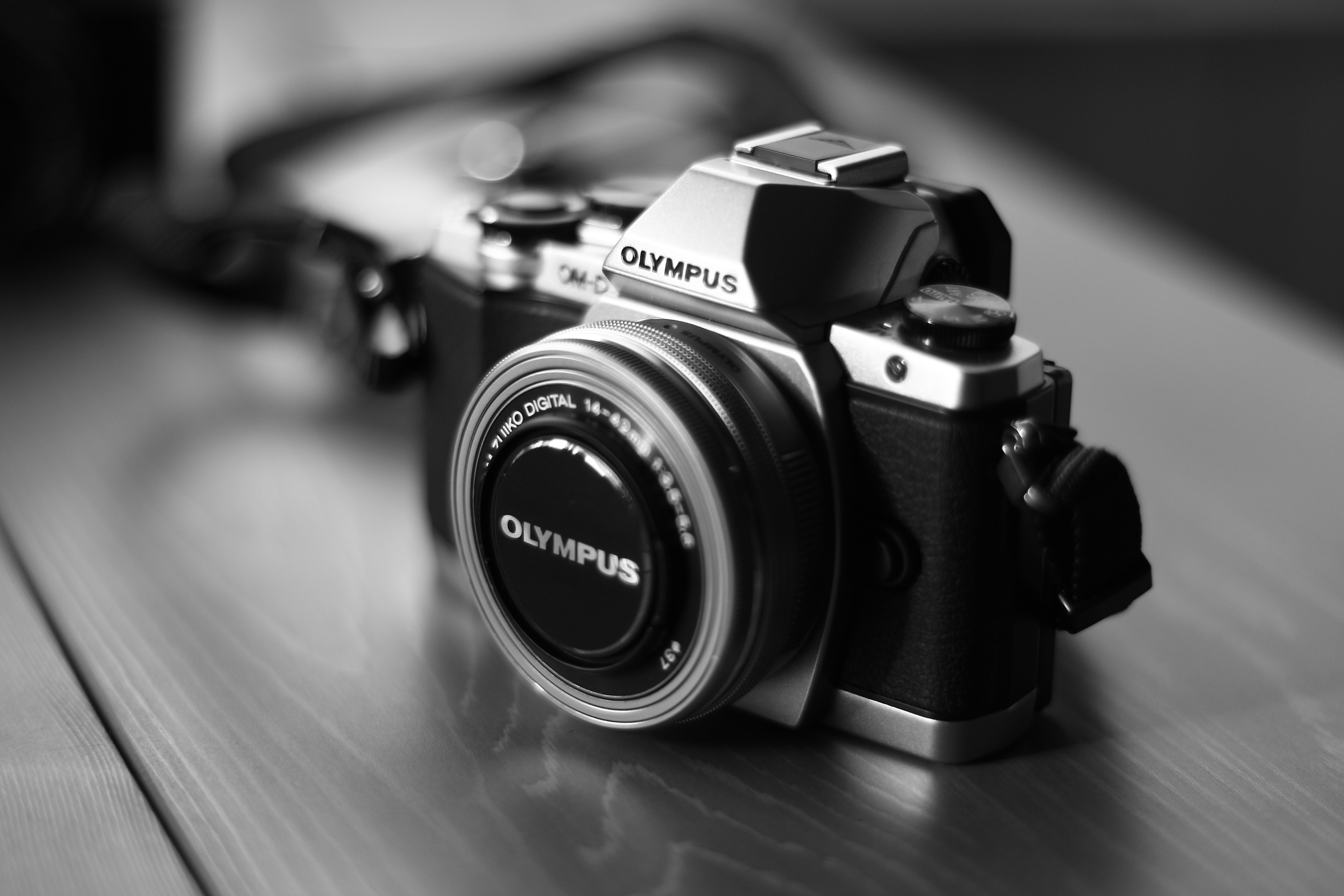 Grayscale Photo of Black and Gray Olympus Camera · Free ...