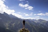 mountains, nature, man
