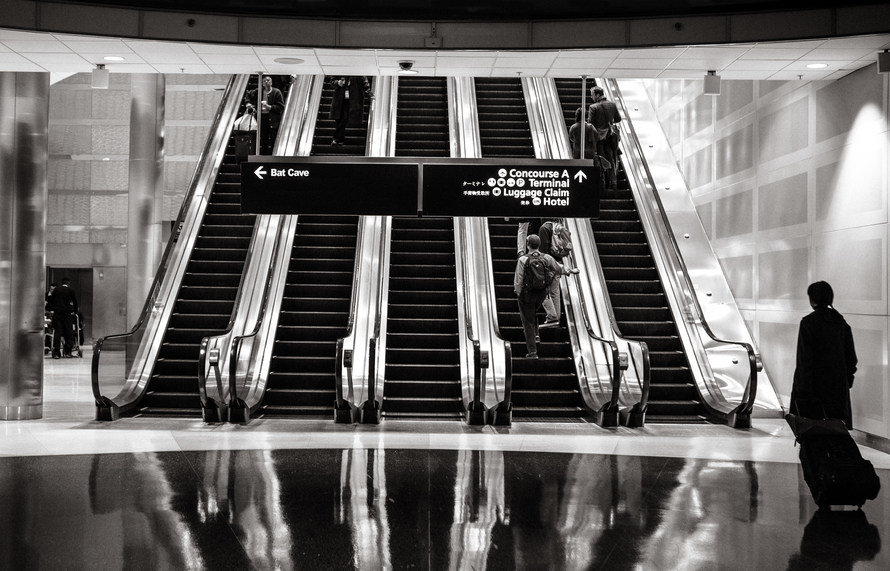 stairs, people, airport
