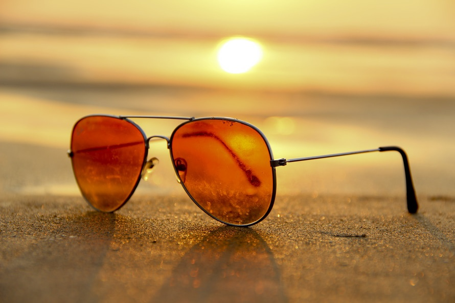 sunset, beach, sunglasses