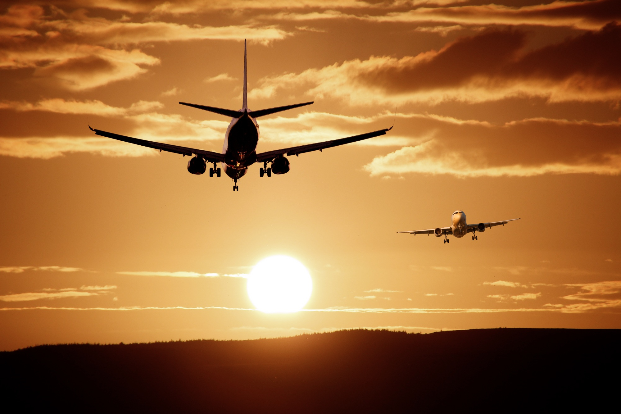 silhouette of airplanes free stock photo