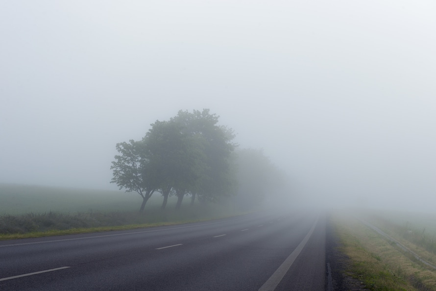 countryside road, drizzle, fog
