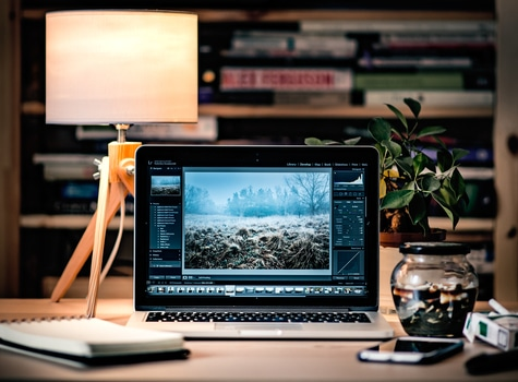Free stock photo of apple, desk, laptop, office