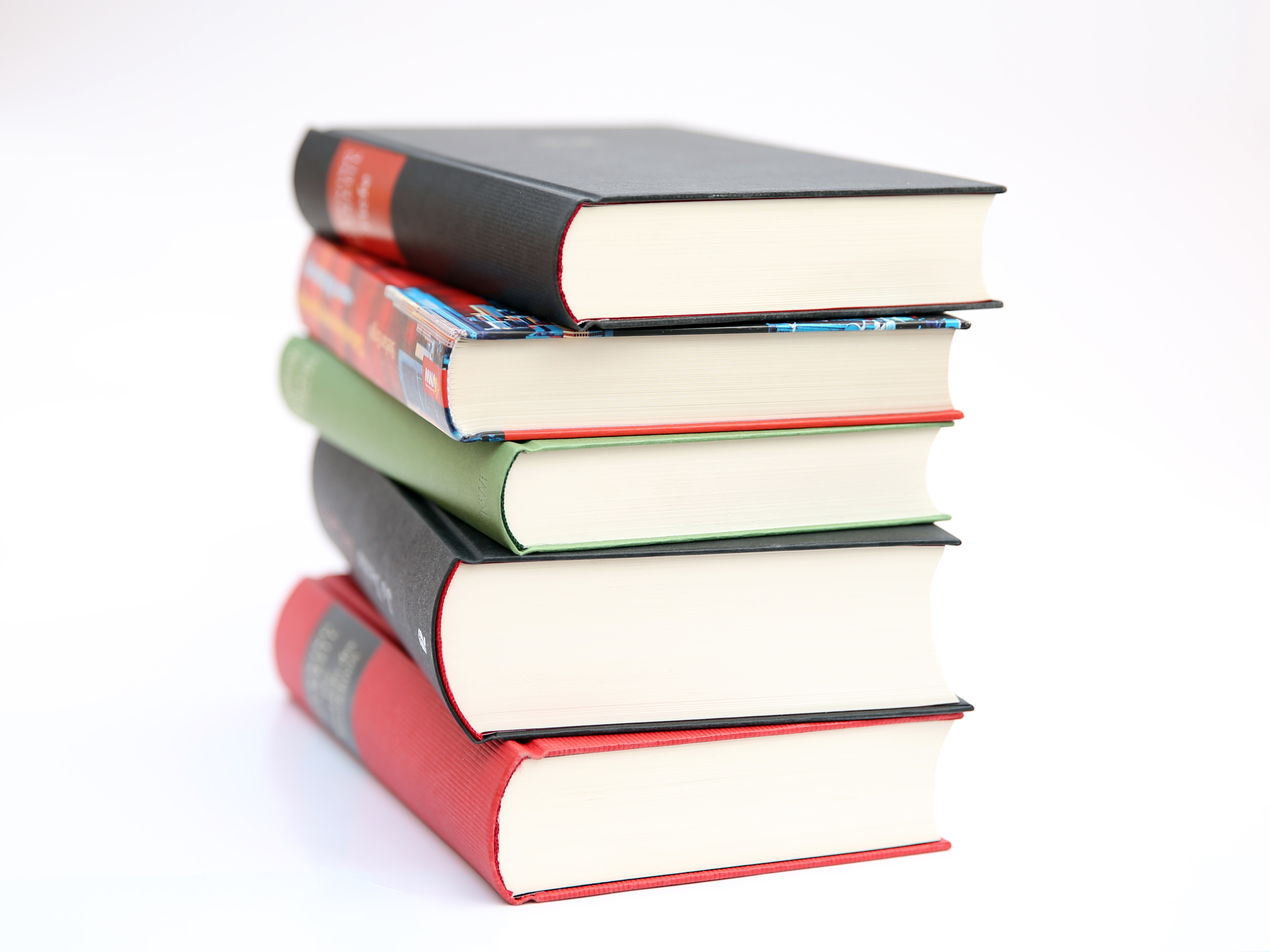 pile of five books - Free Book Pictures