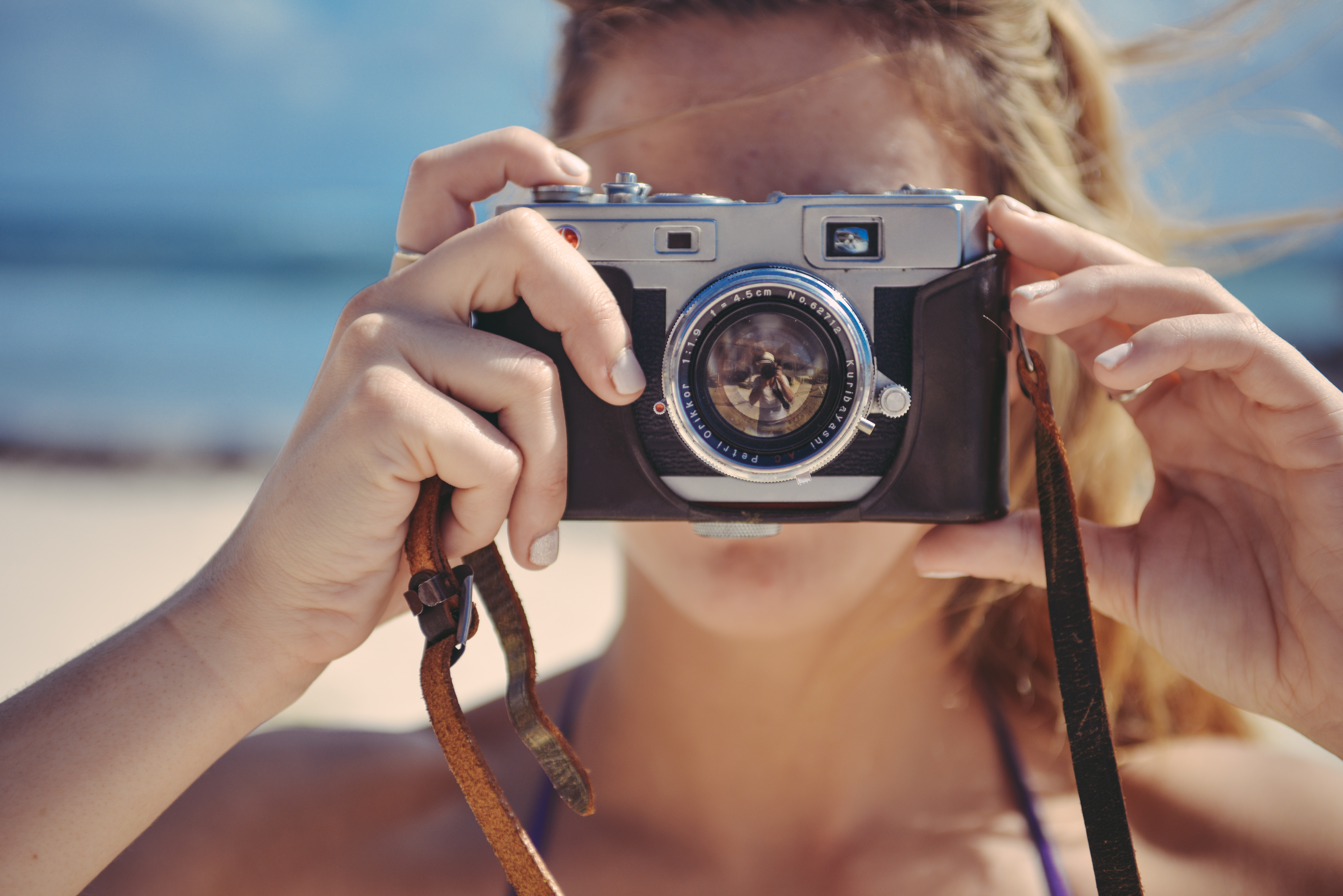 Free stock photo of beach, camera, hand
