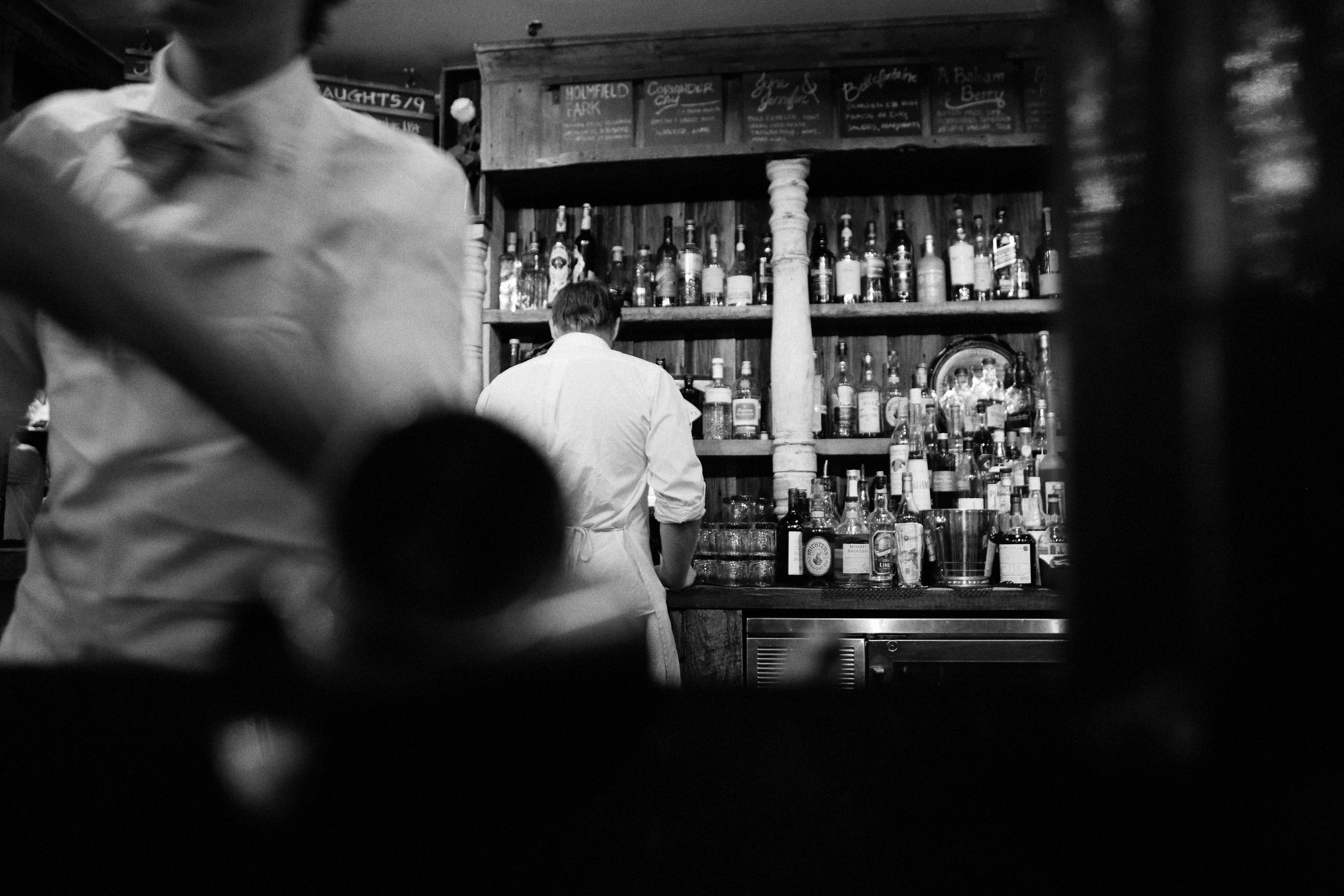 Free Stock Photo Of Black And White, Alcohol, Bar, Barkeeper
