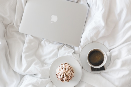 Free stock photo of coffee, cup, apple, laptop