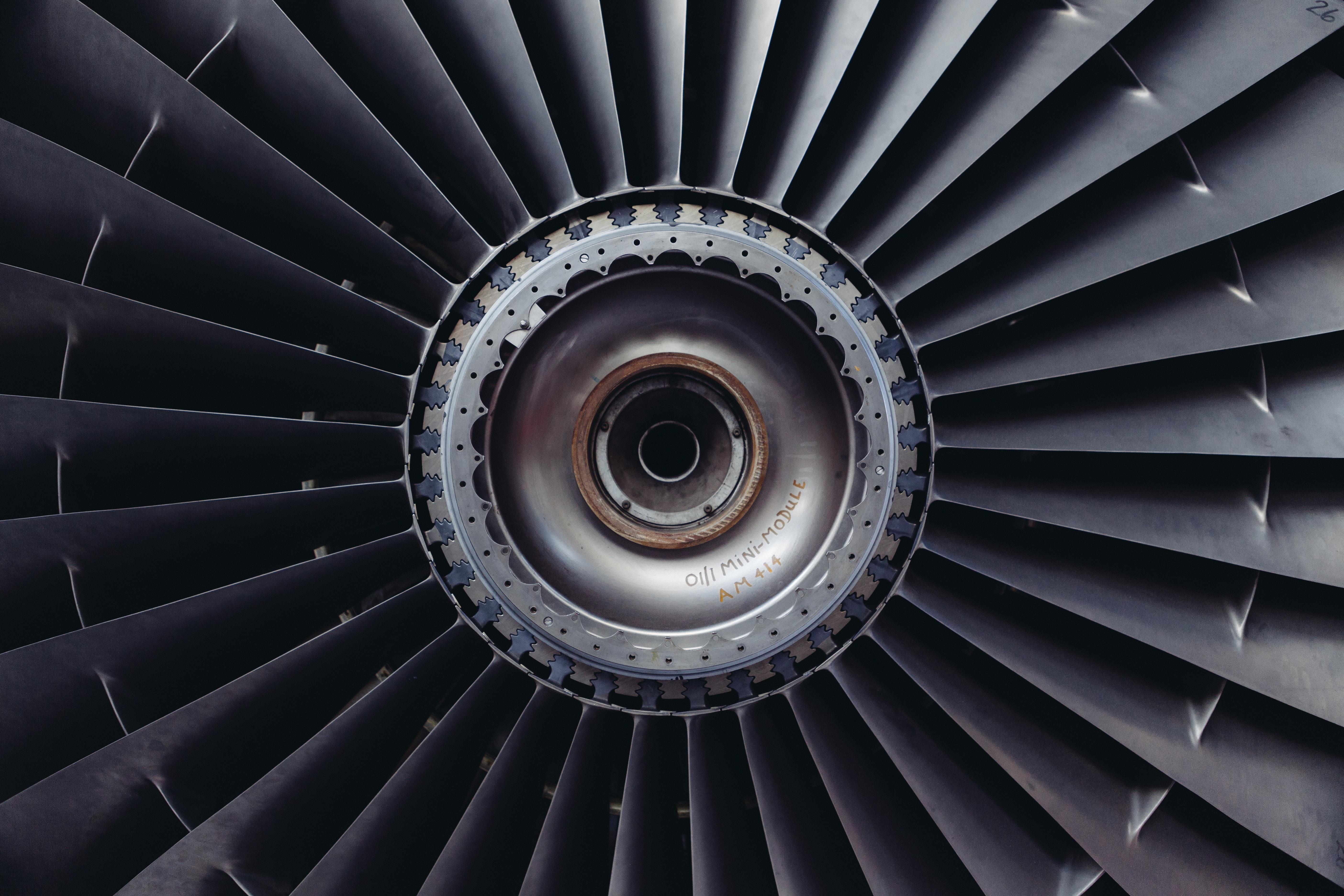 Free stock photo of airplane engine jet
