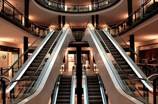 Free stock photo of building, escalators, mall, shopping center