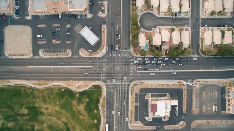bird's eye view, cars, crossing, crossroad