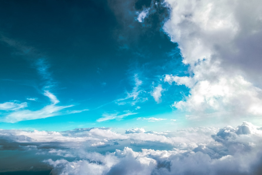 sky, flying, clouds