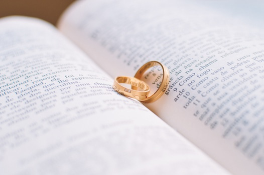 Free stock photo of couple, love, rings, book